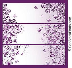 set, di, orizzontale, viola, floreale, augurio, bandiere
