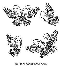 set, di, ornamentale, farfalle, per, tuo, disegno