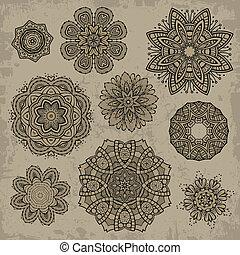set, di, ornamentale, vendemmia, elementi floreali
