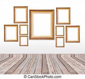 Immagine set parete oro vendemmia cornici immagine for Set cornici da parete