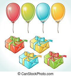 set, di, palloni coloriti, e, regali, con, dettagli
