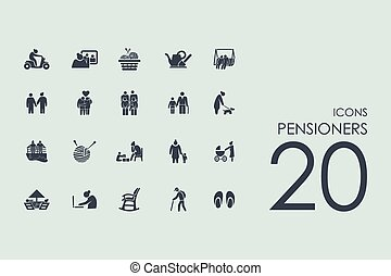 set, di, pensionati, icone