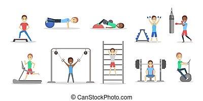 set, di, persone, fare, esercizi, palestra