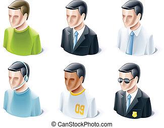 set, di, persone, icone