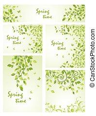 set, di, primavera, verde, mascherine
