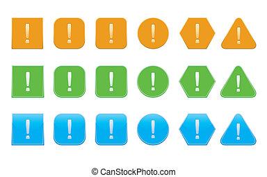 set, di, punto esclamativo, icone