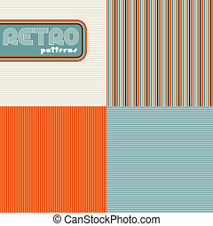 set, di, quattro, astratto, retro, seamless, patterns.