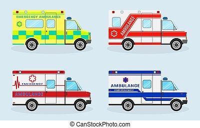 set, di, quattro, emergenza, ambulanza, cars., ambulanza, automobile, lato, vista., emergenza, servizio medico, vehicle.