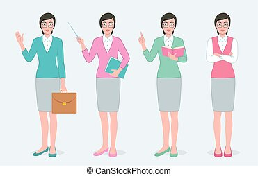 set, di, quattro, femmina, teacher.
