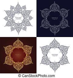 set, di, quattro, ornamentale, rotondo, laccio, cerchio, ornamento