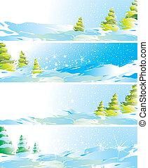 set, di, quattro, paesaggio inverno, bandiere