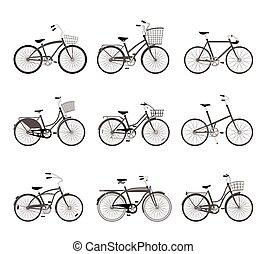 set, di, retro, bicycles, silhouette