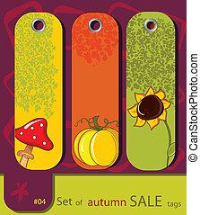 set, di, retro, vendita, natura, autunno, etichette