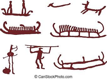 Set persone tribale caverna silhouette vettore for Piani di caverna di garage uomo