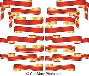set, di, rosso, bandiera, rotoli, con, dorato, accenti
