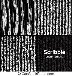 set, di, scarabocchio, linee, modelli, mano, disegnato, in,...