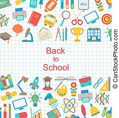 set, di, scuola, icone, indietro scuola, oggetti