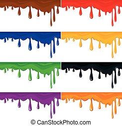 set, di, seamless, colorito, vernice, schizzi, isolato, bianco, astratto, fondo.