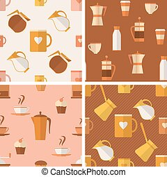 set, di, seamless, modelli, con, caffè, articoli