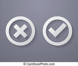 set, di, segno spunta, icone