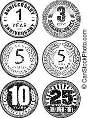 set, di, sei, anniversario, progetta, in, bollo gomma, style., là, ara, 1, 3, 5, 10, 25, anni, icons.