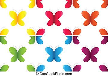 set, di, semless, modelli, con, farfalle