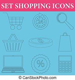 set, di, shopping, icone