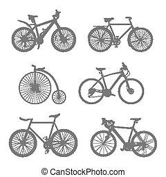 set, di, silhouette, bicycles