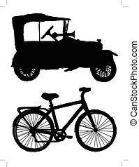 set, di, silhouette, di, trasporto