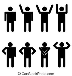 set, di, silhouette, di, uno, uomo