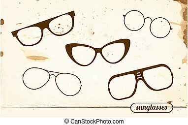 set, di, silhouette, di, vendemmia, occhiali da sole