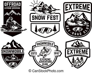 set, di, snowmobile, emblemi, isolato, bianco, fondo.,...
