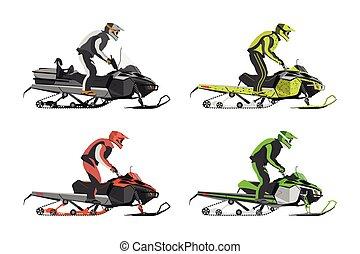 set, di, snowmobiles., trasporto, per, estremo