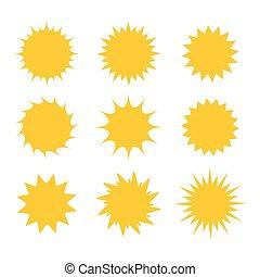 set, di, sole, icone