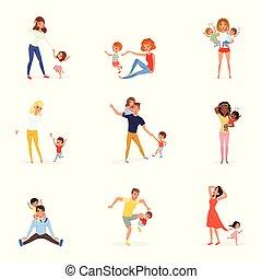 set, di, stanco, genitori, con, children., esaurito, mamme, e, dads, giocoso, ragazzi, e, girls., matto, day., bambini, volere, a, play., realtà, di, parenthood., famiglia, concept., appartamento, vettore