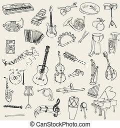set, di, strumenti musica, -, mano, disegnato, in, vettore