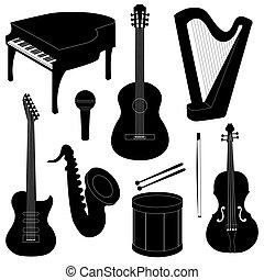 set, di, strumenti musicali, silhouette