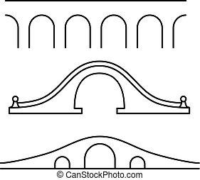 set, di, tre, differente, art linea, stile, ponti