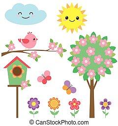 set, di, uccelli, e, fiori