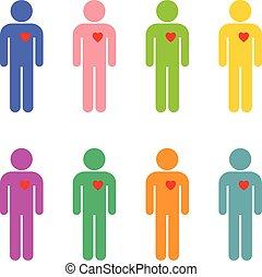 set, di, uomini, in, differente, colori, con, uno, dedicato, cuore