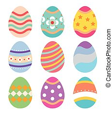 set, di, uova pasqua, appartamento, disegno, bianco, fondo.