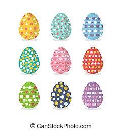 set, di, uova pasqua, appartamento, disegno