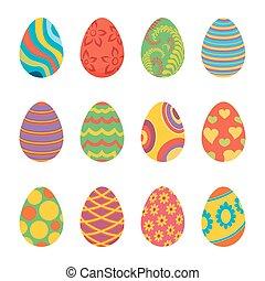 set, di, uova pasqua, disegno, appartamento