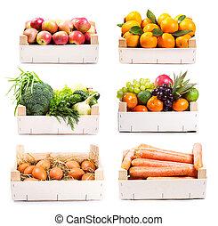 set, di, vario, cibo, in, scatola legno