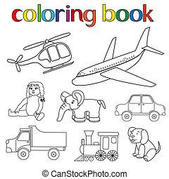 set, di, vario, giocattoli, per, libro colorante