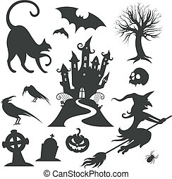set, di, vario, vettore, halloween, disegni elementi