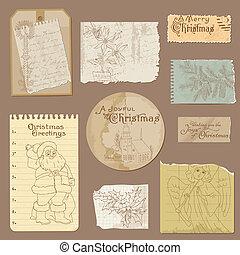 set, di, vecchio, carta, natale, vendemmia, disegni elementi, in, vettore
