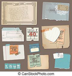 set, di, vecchio, carta, oggetti