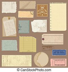 set, di, vecchio, carta, oggetti, -, per, disegno, e, album, in, vettore