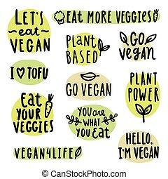 set, di, vegan, lettering.
